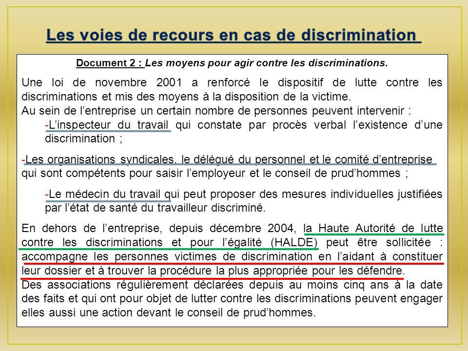 Document 2 : Les moyens pour agir contre les discriminations.