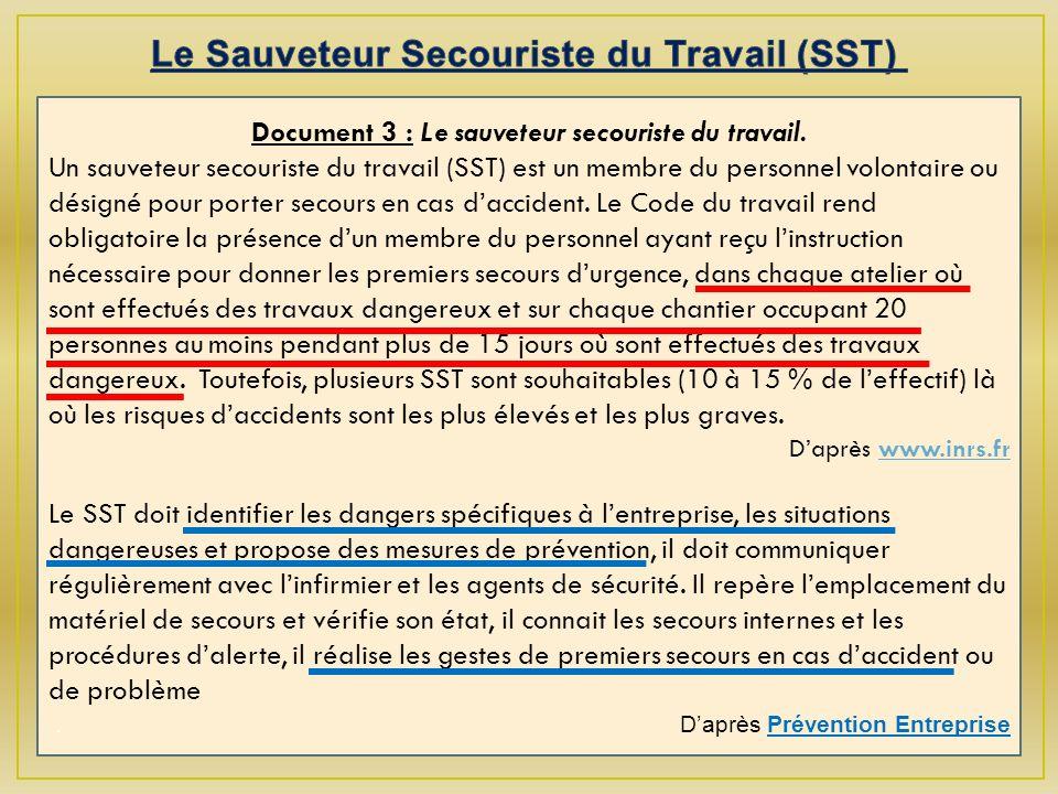 Document 3 : Le sauveteur secouriste du travail.