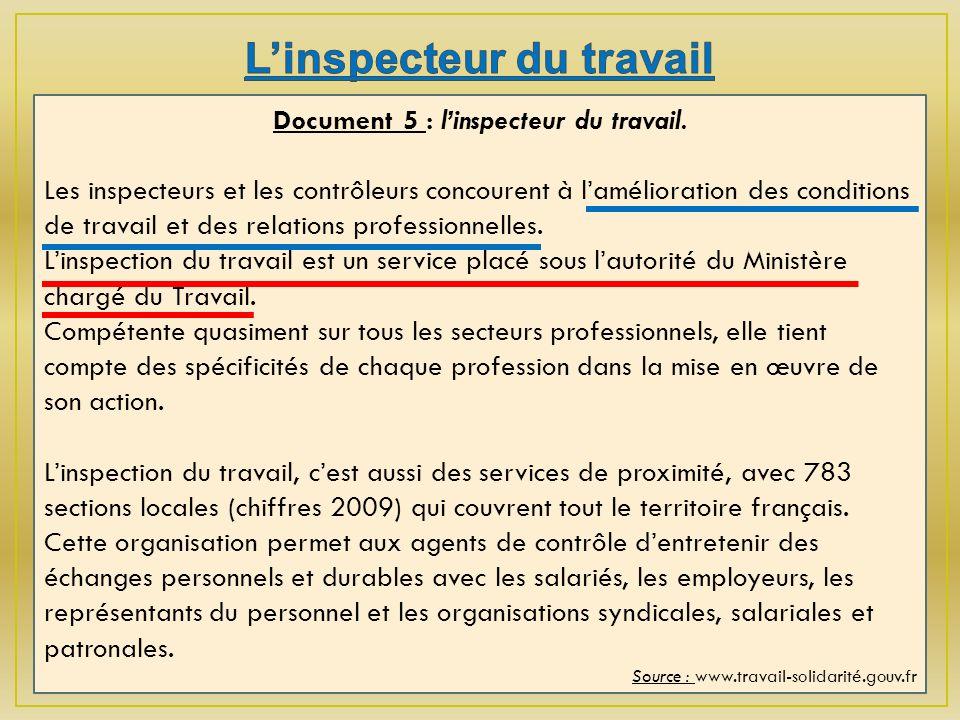 Document 5 : linspecteur du travail.