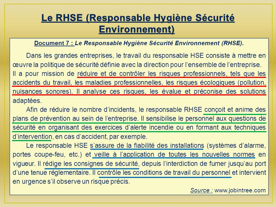 Document 7 : Le Responsable Hygiène Sécurité Environnement (RHSE).