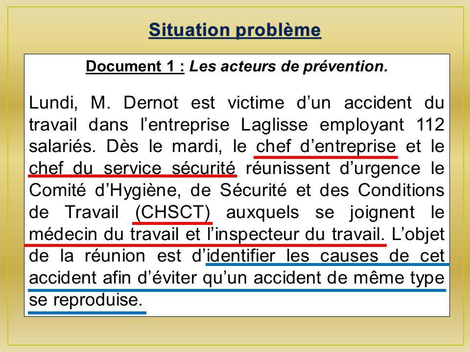 Document 1 : Les acteurs de prévention.Lundi, M.