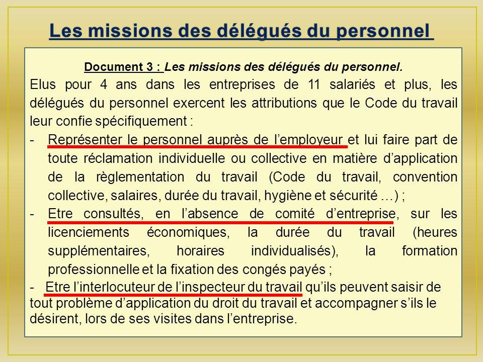Document 3 : Les missions des délégués du personnel.
