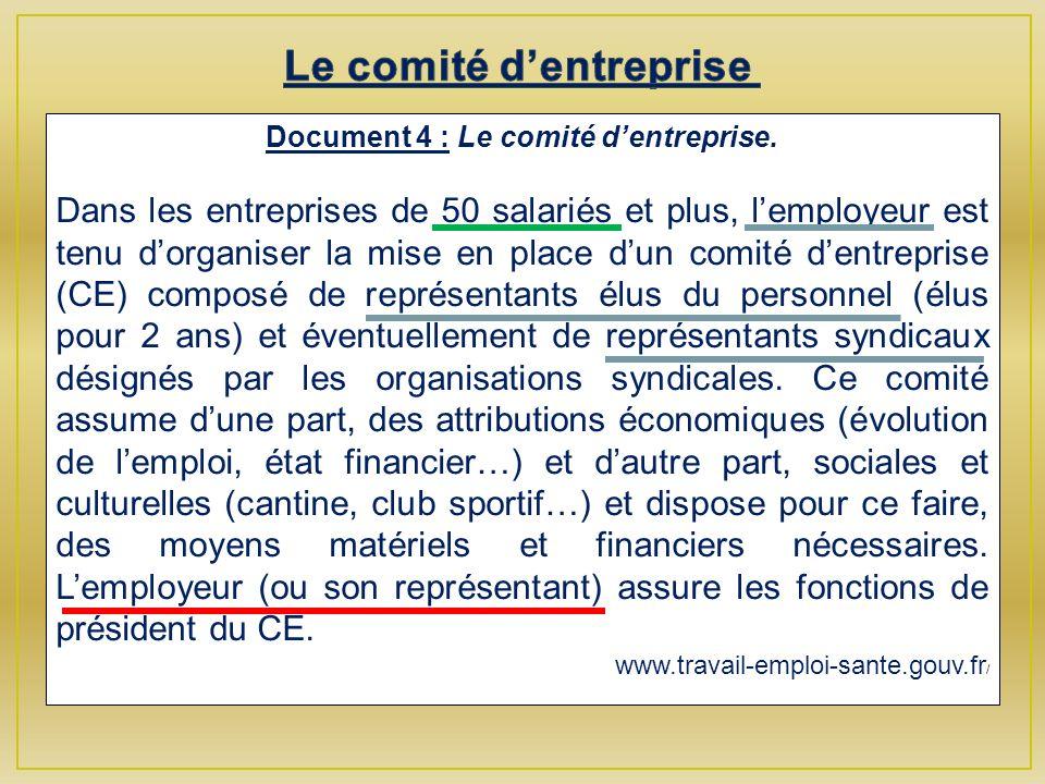Document 4 : Le comité dentreprise.