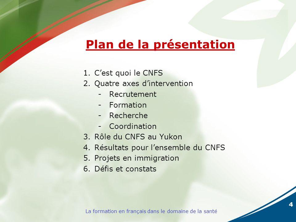 4 La formation en français dans le domaine de la santé Plan de la présentation 1.Cest quoi le CNFS 2.Quatre axes dintervention -Recrutement -Formation -Recherche -Coordination 3.Rôle du CNFS au Yukon 4.Résultats pour lensemble du CNFS 5.Projets en immigration 6.Défis et constats