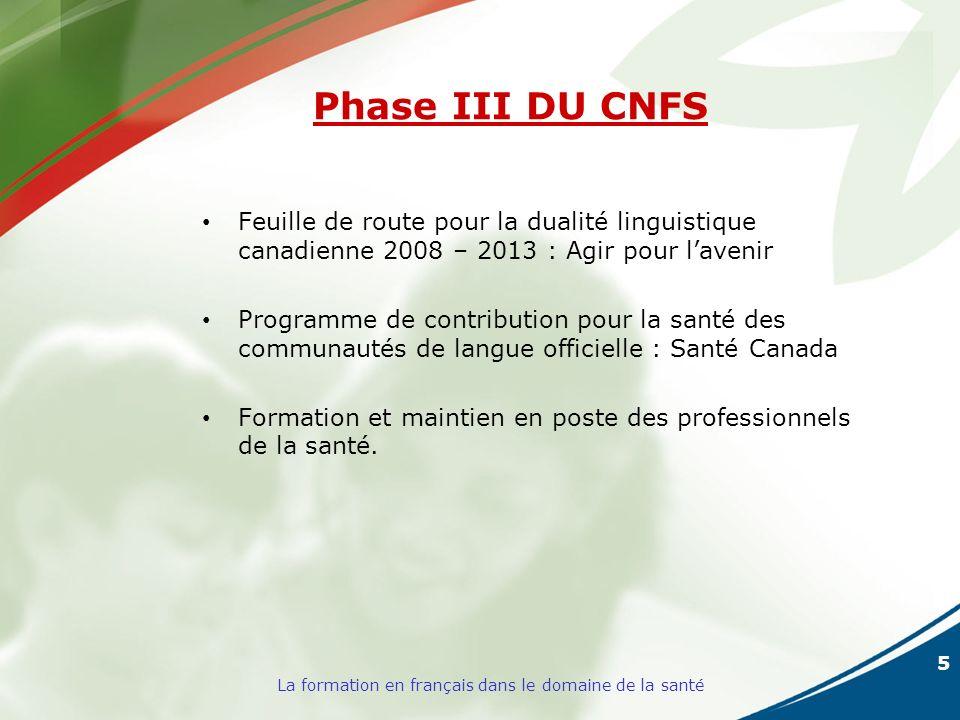 5 La formation en français dans le domaine de la santé Phase III DU CNFS Feuille de route pour la dualité linguistique canadienne 2008 – 2013 : Agir pour lavenir Programme de contribution pour la santé des communautés de langue officielle : Santé Canada Formation et maintien en poste des professionnels de la santé.