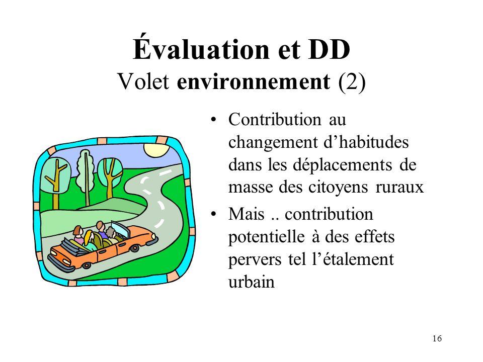 16 Évaluation et DD Volet environnement (2) Contribution au changement dhabitudes dans les déplacements de masse des citoyens ruraux Mais.. contributi