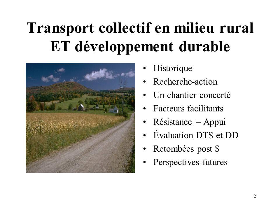 2 Transport collectif en milieu rural ET développement durable Historique Recherche-action Un chantier concerté Facteurs facilitants Résistance = Appu