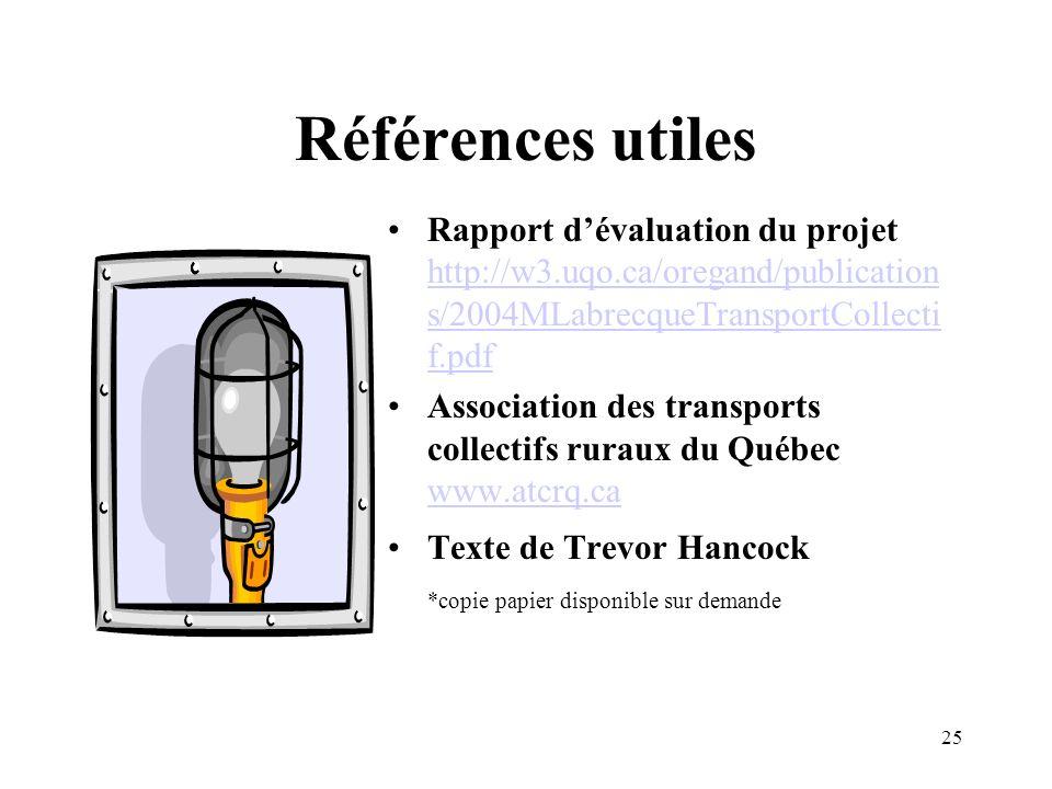 25 Références utiles Rapport dévaluation du projet http://w3.uqo.ca/oregand/publication s/2004MLabrecqueTransportCollecti f.pdf http://w3.uqo.ca/orega