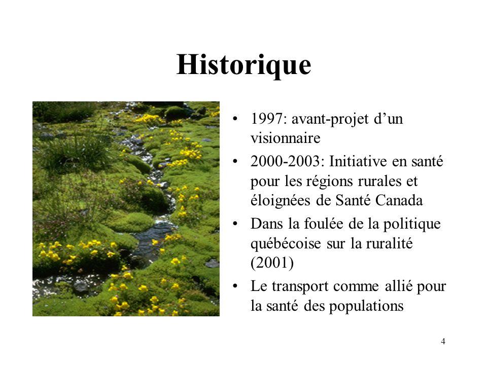 4 Historique 1997: avant-projet dun visionnaire 2000-2003: Initiative en santé pour les régions rurales et éloignées de Santé Canada Dans la foulée de