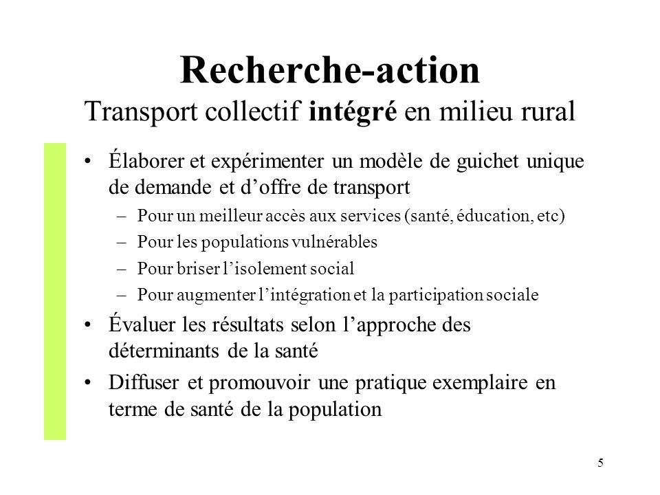 5 Recherche-action Transport collectif intégré en milieu rural Élaborer et expérimenter un modèle de guichet unique de demande et doffre de transport