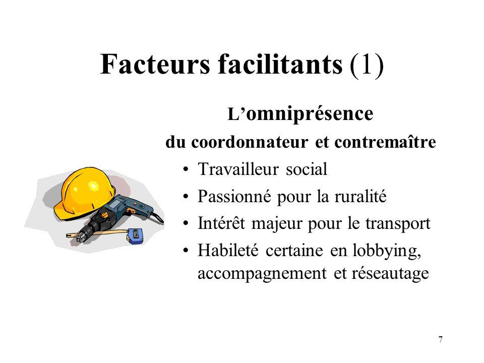 7 Facteurs facilitants (1) L omniprésence du coordonnateur et contremaître Travailleur social Passionné pour la ruralité Intérêt majeur pour le transp