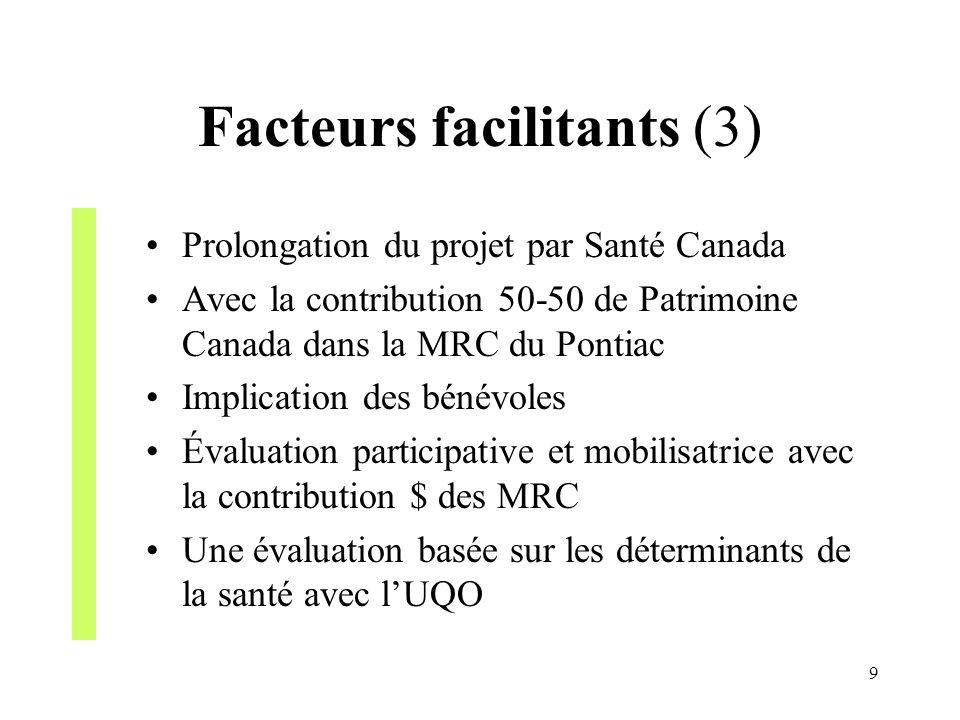 9 Facteurs facilitants (3) Prolongation du projet par Santé Canada Avec la contribution 50-50 de Patrimoine Canada dans la MRC du Pontiac Implication