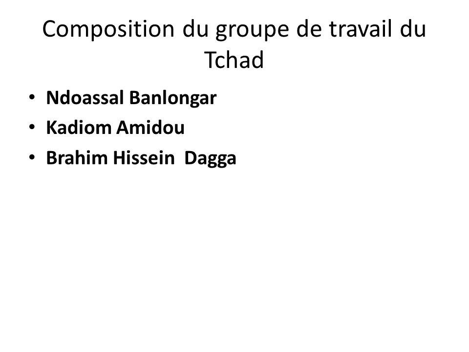 Composition du groupe de travail du Tchad Ndoassal Banlongar Kadiom Amidou Brahim Hissein Dagga
