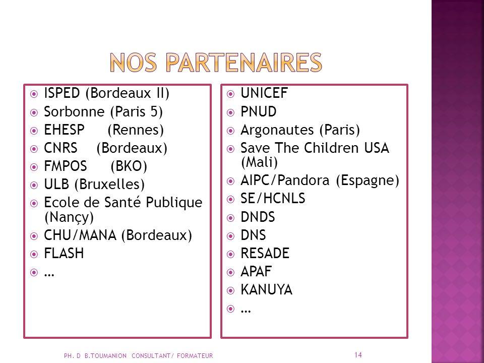 ISPED (Bordeaux II) Sorbonne (Paris 5) EHESP (Rennes) CNRS (Bordeaux) FMPOS (BKO) ULB (Bruxelles) Ecole de Santé Publique (Nançy) CHU/MANA (Bordeaux) FLASH … UNICEF PNUD Argonautes (Paris) Save The Children USA (Mali) AIPC/Pandora (Espagne) SE/HCNLS DNDS DNS RESADE APAF KANUYA … PH.