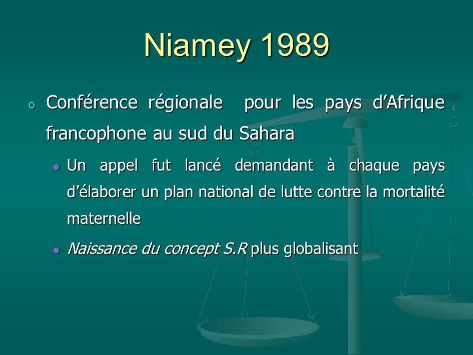Niamey 1989 o Conférence régionale pour les pays dAfrique francophone au sud du Sahara Un appel fut lancé demandant à chaque pays délaborer un plan national de lutte contre la mortalité maternelle Un appel fut lancé demandant à chaque pays délaborer un plan national de lutte contre la mortalité maternelle Naissance du concept S.R plus globalisant Naissance du concept S.R plus globalisant