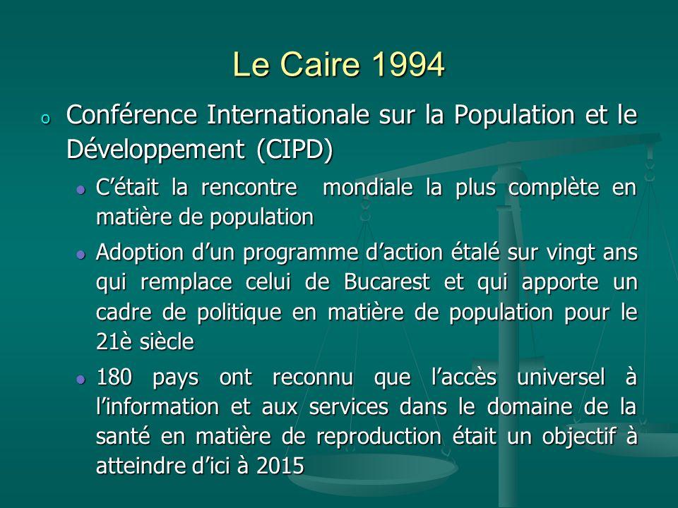 Le Caire 1994 o Conférence Internationale sur la Population et le Développement (CIPD) Cétait la rencontre mondiale la plus complète en matière de pop