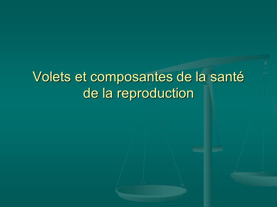 Volets et composantes de la santé de la reproduction