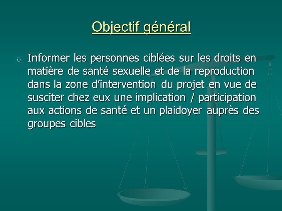 Objectif général o Informer les personnes ciblées sur les droits en matière de santé sexuelle et de la reproduction dans la zone dintervention du proj