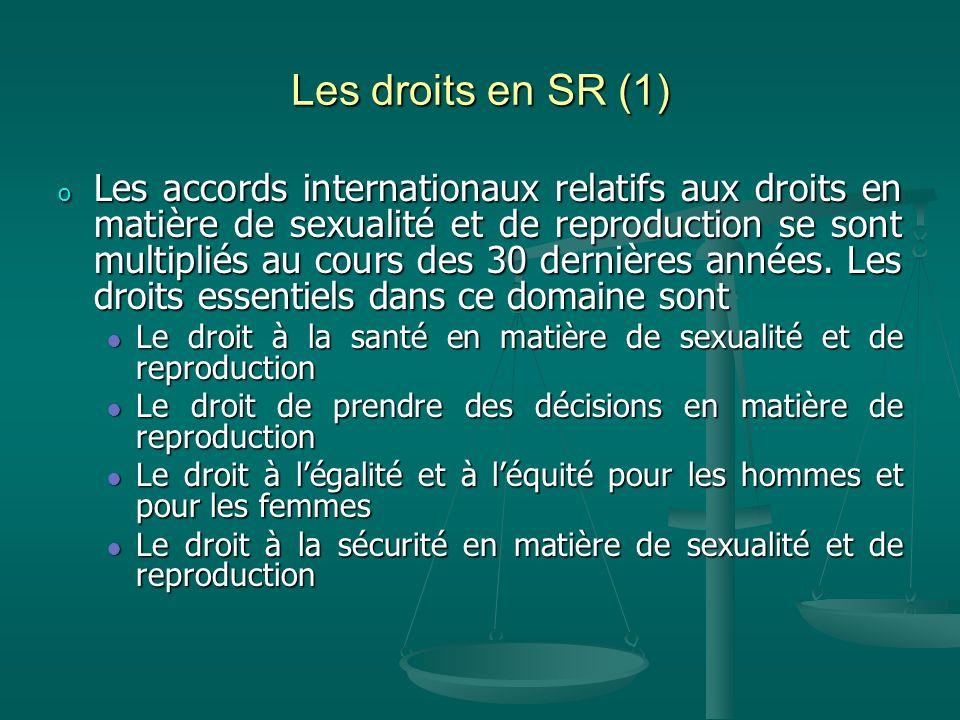 Les droits en SR (1) o Les accords internationaux relatifs aux droits en matière de sexualité et de reproduction se sont multipliés au cours des 30 dernières années.