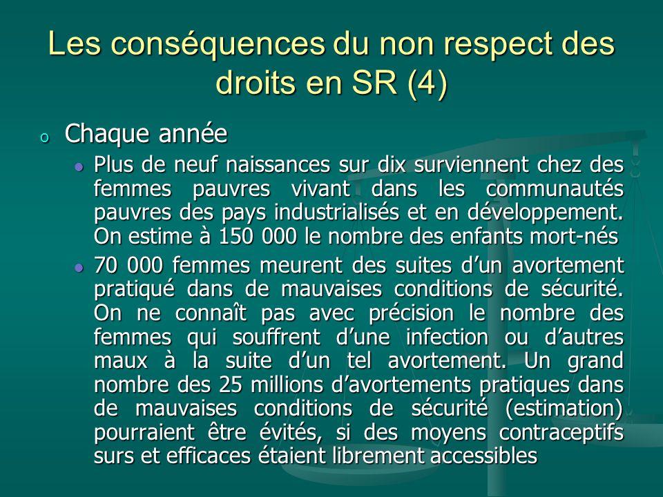 Les conséquences du non respect des droits en SR (4) o Chaque année Plus de neuf naissances sur dix surviennent chez des femmes pauvres vivant dans le