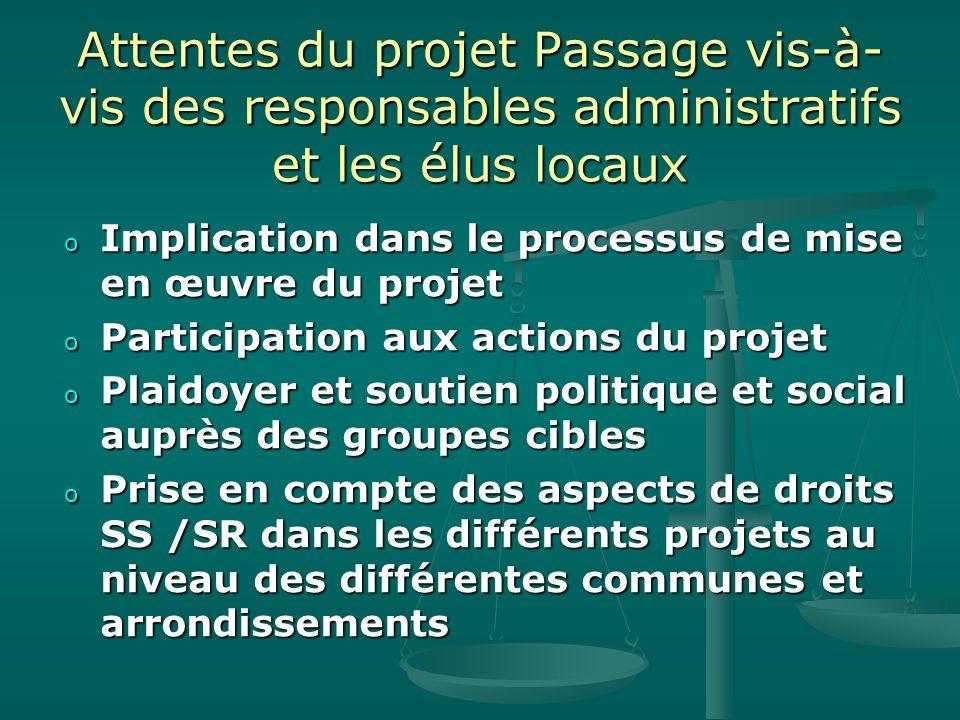 Attentes du projet Passage vis-à- vis des responsables administratifs et les élus locaux o Implication dans le processus de mise en œuvre du projet o