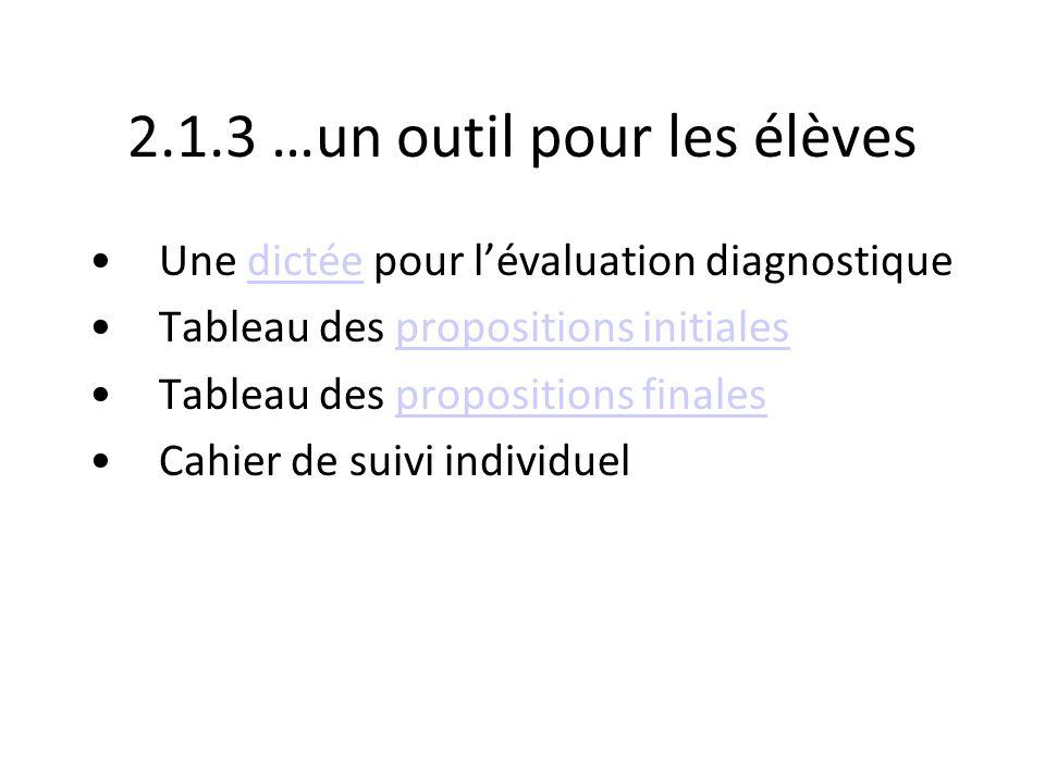 2.1.3 …un outil pour les élèves Une dictée pour lévaluation diagnostiquedictée Tableau des propositions initialespropositions initiales Tableau des pr