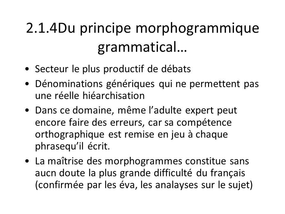 2.1.4Du principe morphogrammique grammatical… Secteur le plus productif de débats Dénominations génériques qui ne permettent pas une réelle hiéarchisa