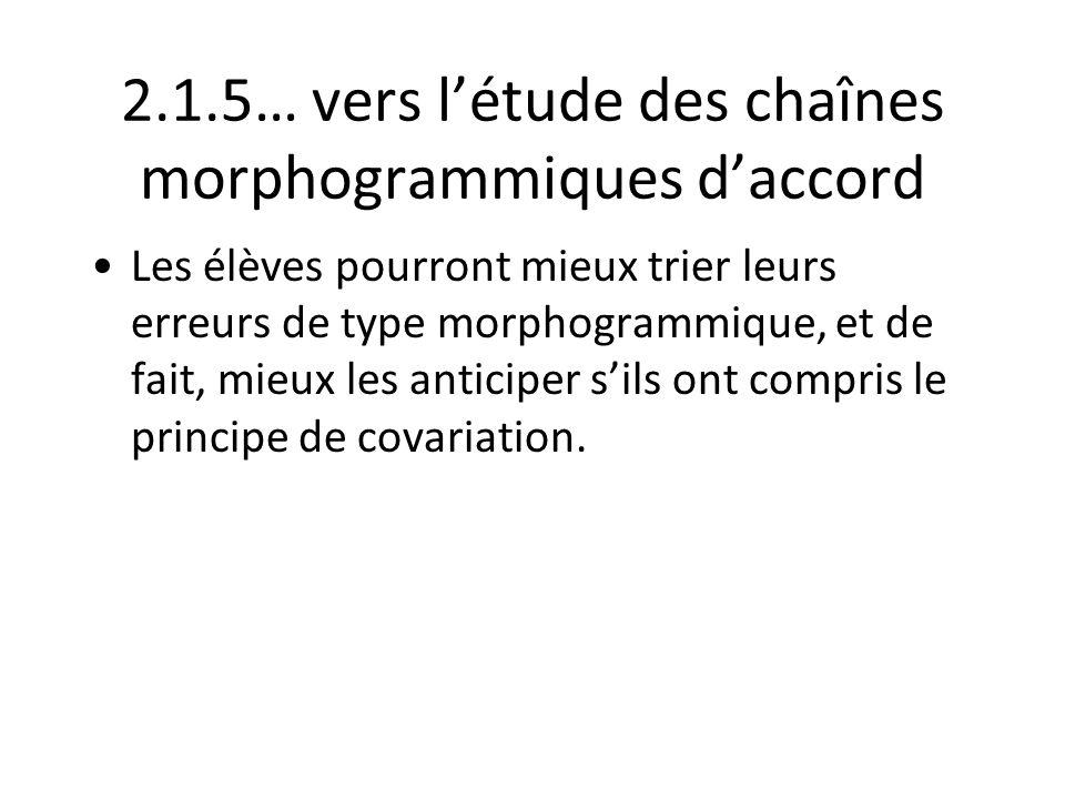 2.1.5… vers létude des chaînes morphogrammiques daccord Les élèves pourront mieux trier leurs erreurs de type morphogrammique, et de fait, mieux les a