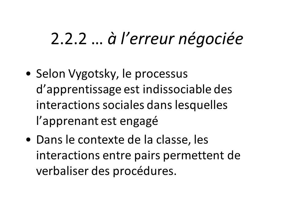 2.2.2 … à lerreur négociée Selon Vygotsky, le processus dapprentissage est indissociable des interactions sociales dans lesquelles lapprenant est enga