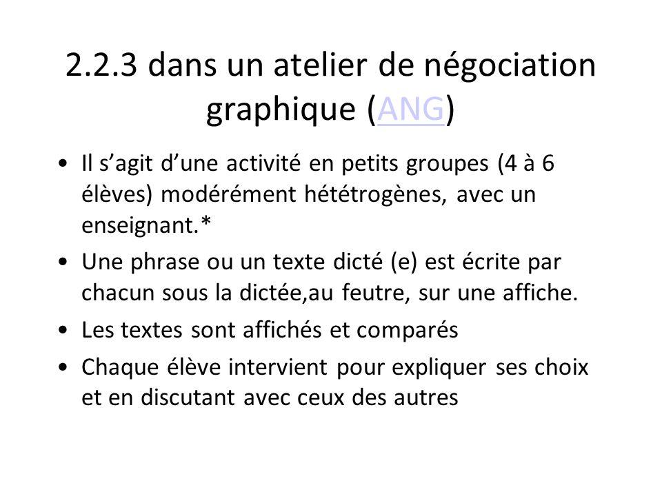2.2.3 dans un atelier de négociation graphique (ANG)ANG Il sagit dune activité en petits groupes (4 à 6 élèves) modérément hététrogènes, avec un ensei