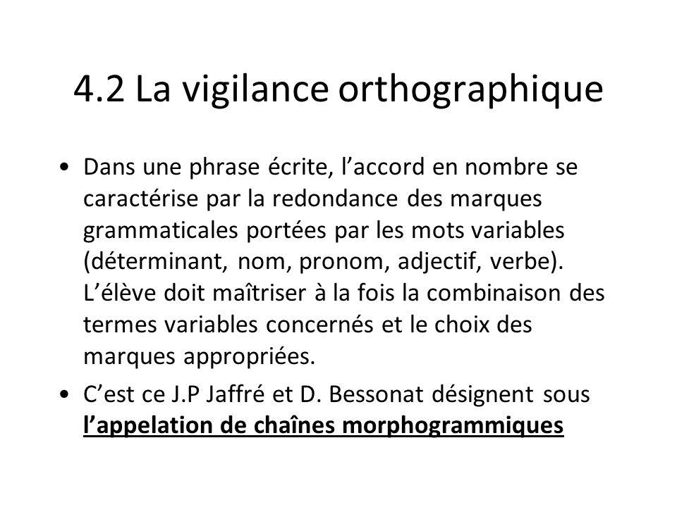 4.2 La vigilance orthographique Dans une phrase écrite, laccord en nombre se caractérise par la redondance des marques grammaticales portées par les m
