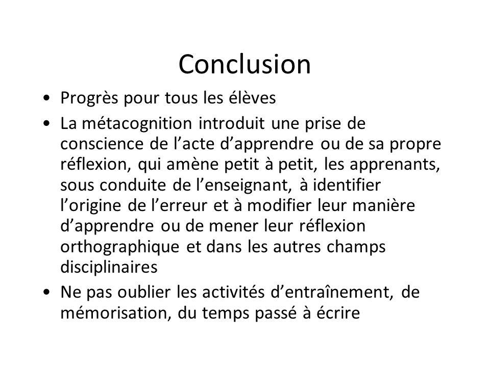 Conclusion Progrès pour tous les élèves La métacognition introduit une prise de conscience de lacte dapprendre ou de sa propre réflexion, qui amène pe