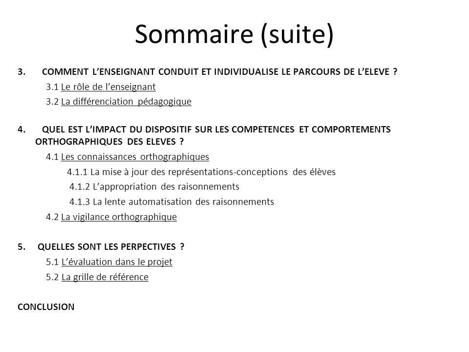 Sommaire (suite) 3. COMMENT LENSEIGNANT CONDUIT ET INDIVIDUALISE LE PARCOURS DE LELEVE ? 3.1 Le rôle de lenseignant 3.2 La différenciation pédagogique