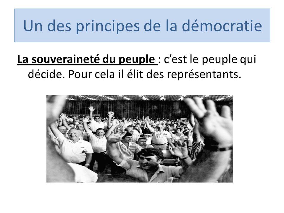Un des principes de la démocratie La souveraineté du peuple : cest le peuple qui décide.