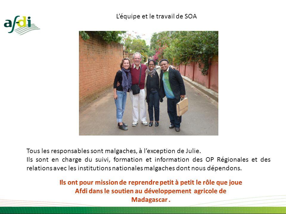 Léquipe et le travail de SOA Tous les responsables sont malgaches, à lexception de Julie. Ils sont en charge du suivi, formation et information des OP
