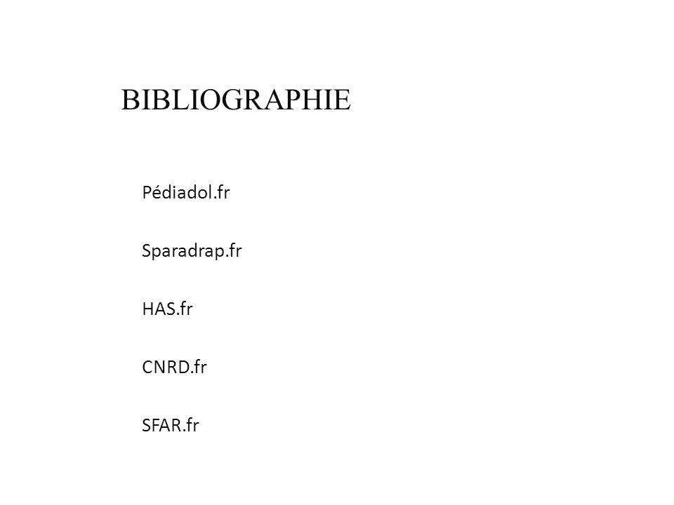 BIBLIOGRAPHIE Pédiadol.fr Sparadrap.fr HAS.fr CNRD.fr SFAR.fr