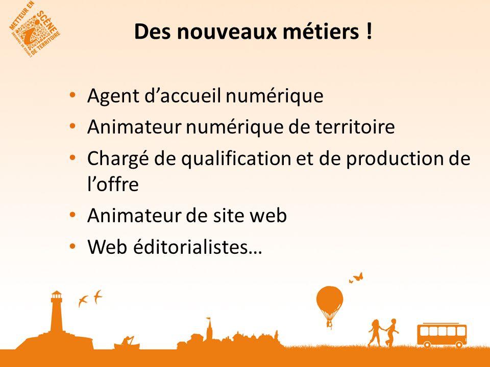 Des nouveaux métiers ! Agent daccueil numérique Animateur numérique de territoire Chargé de qualification et de production de loffre Animateur de site