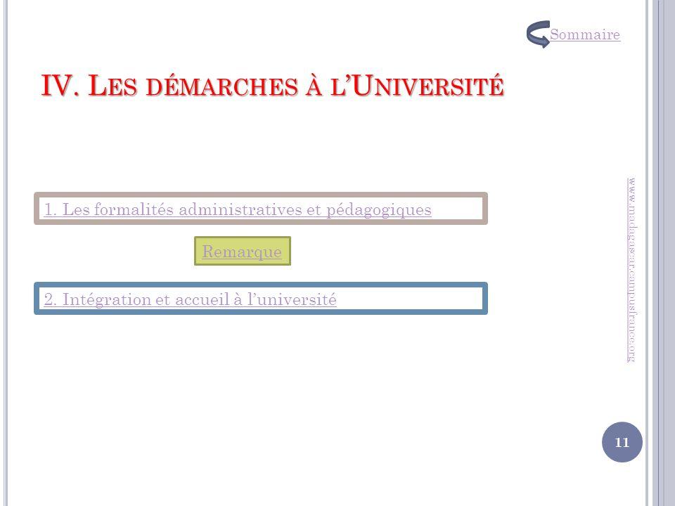 IV. L ES DÉMARCHES À L U NIVERSITÉ www.madagascar.campusfrance.org 1. Les formalités administratives et pédagogiques 2. Intégration et accueil à luniv