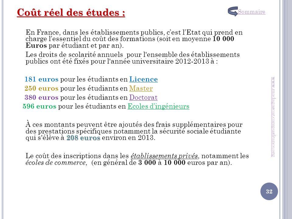 Coût réel des études : En France, dans les établissements publics, cest lEtat qui prend en charge lessentiel du coût des formations (soit en moyenne 1
