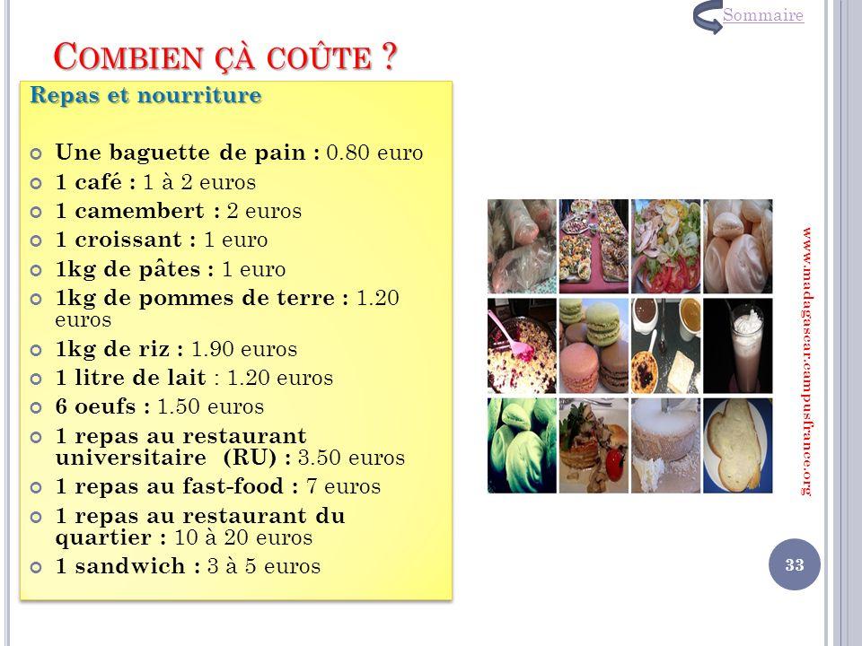 C OMBIEN ÇÀ COÛTE ? Repas et nourriture Une baguette de pain : 0.80 euro 1 café : 1 à 2 euros 1 camembert : 2 euros 1 croissant : 1 euro 1kg de pâtes