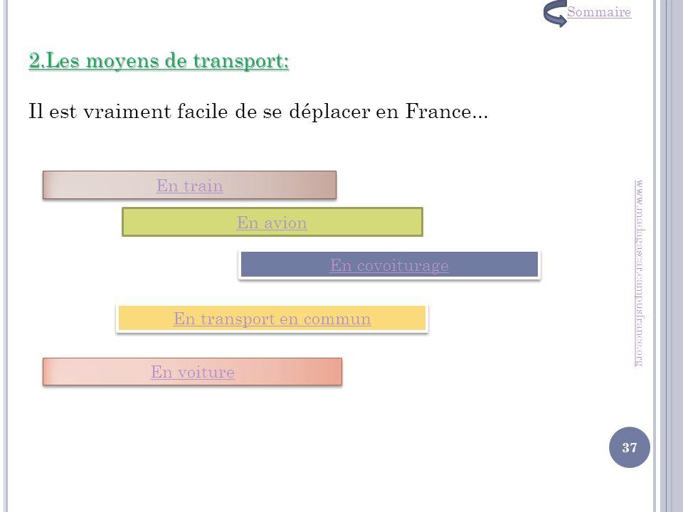 2.Les moyens de transport: Il est vraiment facile de se déplacer en France... www.madagascar.campusfrance.org En train En avion En covoiturage En tran