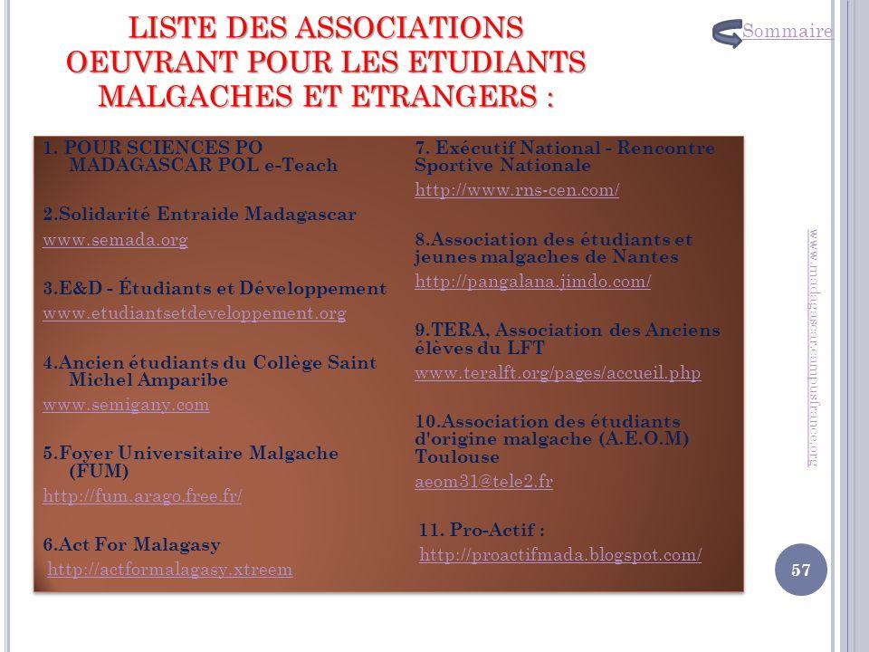 LISTE DES ASSOCIATIONS OEUVRANT POUR LES ETUDIANTS MALGACHES ET ETRANGERS : 1. POUR SCIENCES PO MADAGASCAR POL e-Teach 2.Solidarité Entraide Madagasca