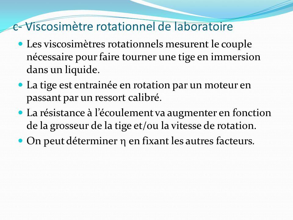 c- Viscosimètre rotationnel de laboratoire Les viscosimètres rotationnels mesurent le couple nécessaire pour faire tourner une tige en immersion dans un liquide.