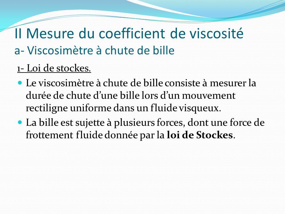 Loi de Stockes F : intensité de la force de frottement fluide (N), cette force soppose au mouvement.