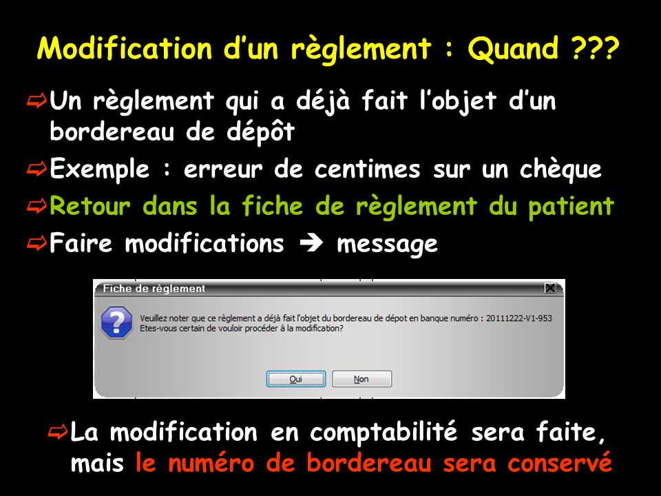 Modification dun règlement : Quand ??.