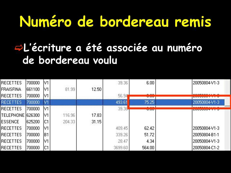 Numéro de bordereau remis Lécriture a été associée au numéro de bordereau voulu