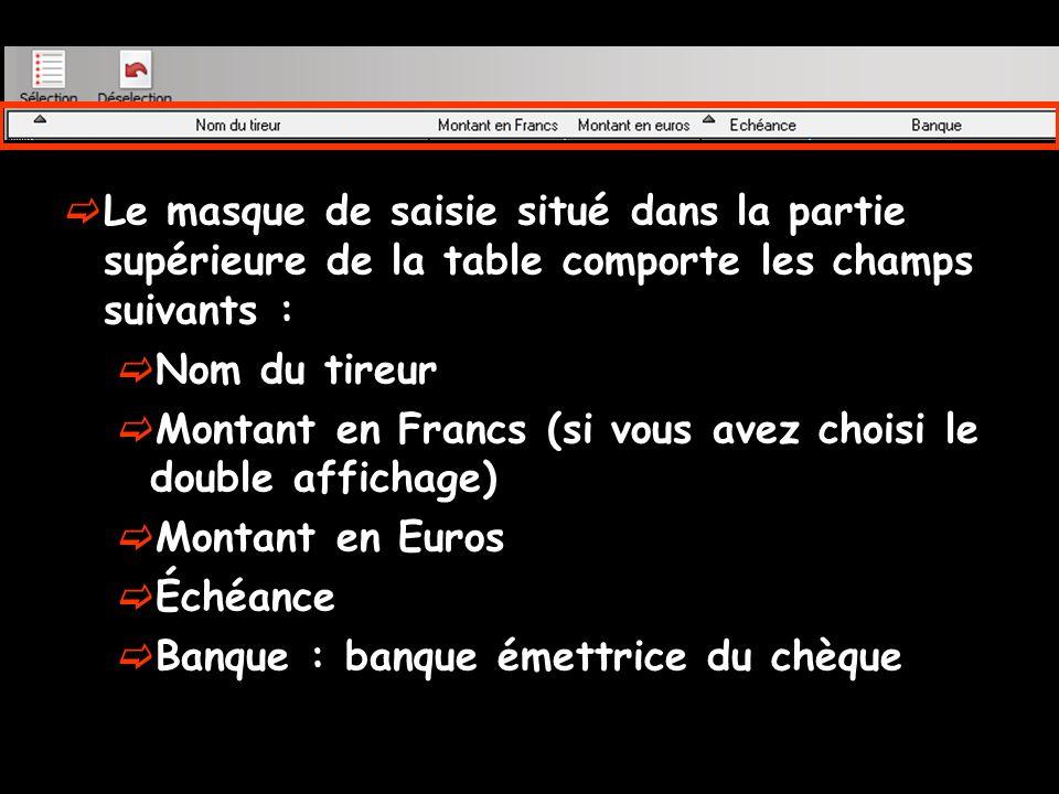 Un clic sur les titres des colonnes Nom du tireur Montant Échéance Banque Permet de modifier le classement