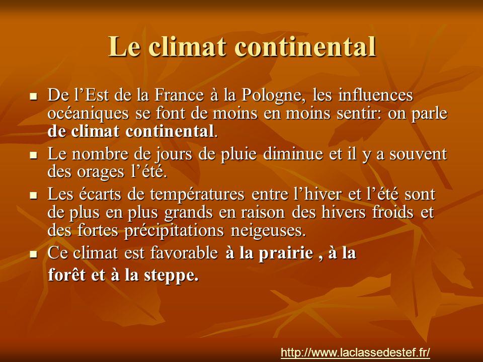 Le climat continental De lEst de la France à la Pologne, les influences océaniques se font de moins en moins sentir: on parle de climat continental. D