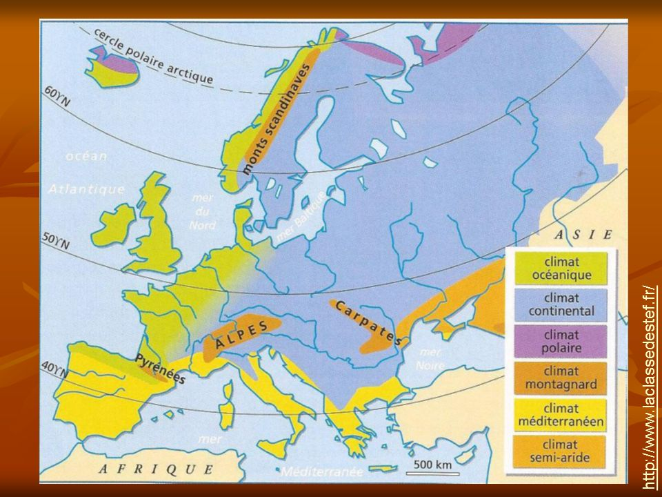 LEurope est située dans une zone « tempérée » du globe terrestre.