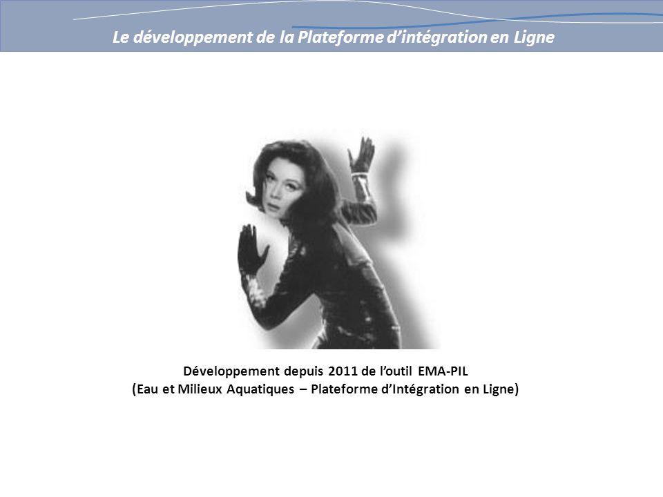 Développement depuis 2011 de loutil EMA-PIL (Eau et Milieux Aquatiques – Plateforme dIntégration en Ligne) Le développement de la Plateforme dintégration en Ligne